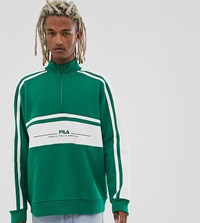 Fila Shord Half Zip Embroidered Sweat In Green Exclusive At Asos