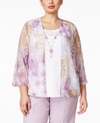 Alfred Dunner Plus Size Layered Look Necklace Top Multi