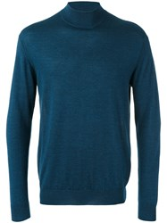 N.Peal Fine Gauge Mock Turtle Neck Jumper Blue