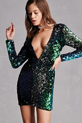 Forever 21 Plunging Sequin Mini Dress Green