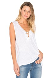 Monrow Lace Up Tank White