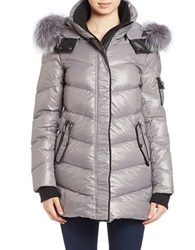 Bagatelle Rex Rabbit Collared Puffer Coat Light Grey