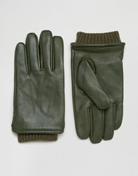 Barney's Barneys Khaki Leather Gloves With Cuff Details Green