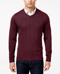 John Ashford Men's Big And Tall V Neck Striped Texture Sweater Only At Macy's Cherry Wine