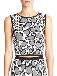 Ohne Titel Reversible Leopard Print Crop Top Black White