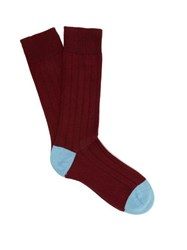Pantherella Scott Nichol Oxford Ribbed Knit Socks Burgundy