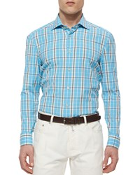 Kiton Large Plaid Woven Shirt Aqua Blue
