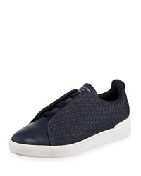 Ermenegildo Zegna Triple Stitch Pelle Low Top Sneakers Blue