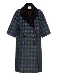 Erdem Julienne Hound's Tooth Brushed Jacquard Coat