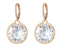 Betsey Johnson Blue By Large Cz Stone Drop With Crystal Accents And Rose Gold Tone Details Earrings Crystal Earring Gray
