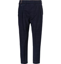 Wooster Lardini Blue Tapered Windowpane Checked Wool Trousers Navy