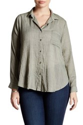 Lush Woven Long Sleeve Button Front Blouse Plus Size Green