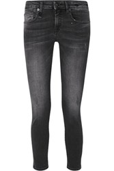 R 13 R13 Kate Distressed Low Rise Skinny Jeans Black