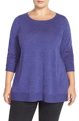 Plus Size Women's Eileen Fisher Ballet Neck Boxy Merino Jersey Sweater Iris
