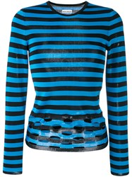 Paco Rabanne Perforated Striped Jumper Women Viscose M Blue