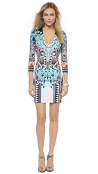 Just Cavalli 3 4 Sleeve V Neck Dress Natural