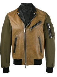 Dsquared2 Contrast Tone Biker Jacket Brown