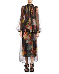 Dries Van Noten Coady Floral Print Chiffon Blouse Black