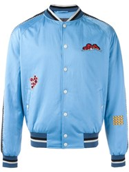 Lanvin Embroidered Patch Baseball Bomber Blue
