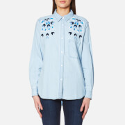 Rails Women's Brett Denim Shirt Starburst Embroidery Blue