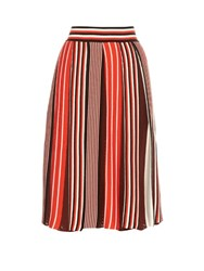 Msgm Pleated Knit Skirt Red Multi