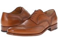A. Testoni Lux Calf Anticato Wingtip Oxford Caramel Men's Lace Up Wing Tip Shoes Brown