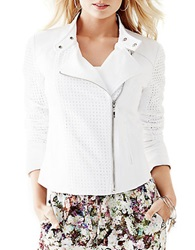 Guess Asymmetrical Zip Moto Jacket White