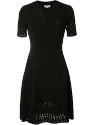 Kenzo Fit And Flare Lace Hole Dress Black