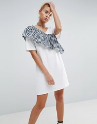 Asos T Shirt Dress With Woven Gingham Frill Detail White Black