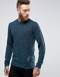 Asos Jumper In Hairy Yarn With Side Zip Detail Teal Green