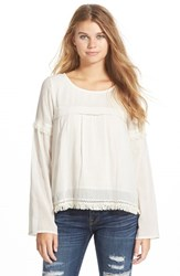 Junior Women's Volcom 'Lost Highway' Fringe Long Sleeve Top Bone