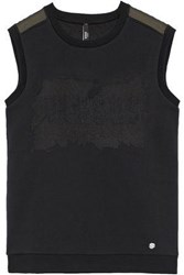 Versus By Versace Embroidered Burnout Cotton Jersey Top Black