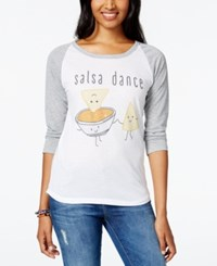 Ntd Juniors' Salsa Dance Graphic Baseball T Shirt White Grey