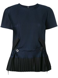 Sacai Pleated Top Women Cotton Polyester 2 Blue
