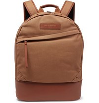 Want Les Essentiels Kastrup Leather Trimmed Organic Cotton Canvas Backpack Brown