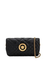 Versace Mini Icon Quilted Leather Shoulder Bag Black