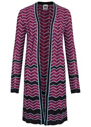 M Missoni Zigzag Fine Knit Cotton Blend Cardigan Pink
