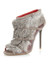 Charles Jourdan Eclipse Fur Bootie Gray