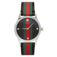 Gucci Black And Silver Striped Leather G Timeless Watch