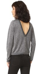 Equipment Calais V Back Sweater Black With Silver Lurex