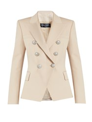 Balmain Double Breasted Wool Jacket Beige