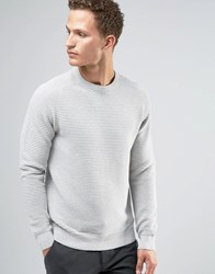 Celio 100 Cotton Knitted Jumper With Horizontal Rib Heather Light Grey