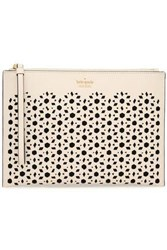Kate Spade Laser Cut Textured Leather Pouch Off White Off White
