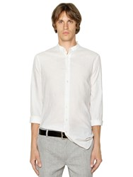 John Varvatos Mandarin Collar Linen Canvas Shirt