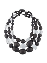 Monies Multi Strand Bead Necklace Black