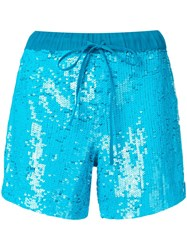 P.A.R.O.S.H. Drawstring Sequined Shorts Blue