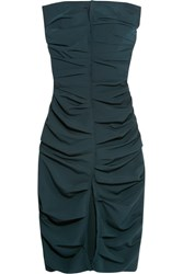 Carmen March Strapless Ruched Crepe Dress Navy