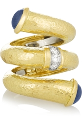 David Webb Double Tip Nail 18 Karat Gold Sapphire And Diamond Ring