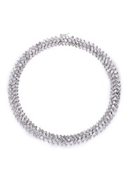 Cz By Kenneth Jay Lane Baguette Cut Cubic Zirconia Geometric Link Necklace Metallic