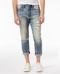 Guess Men's Slim Tapered Fit Stretch Destroyed Carpenter Jeans Victory Blue Wash